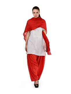 Fiery Red Patiala Salwar With Dupatta - MY COLORS