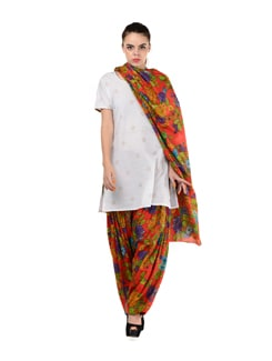 Orange Printed Patiala & Dupatta - MY COLORS