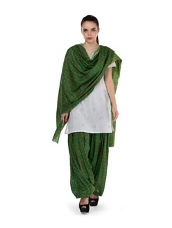 Green Printed Patiala Salwar & Dupatta - MY COLORS