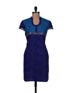Embroidered Blue Kurta - TEEJ
