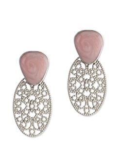 Pink & Silver Carved Oval Earrings - Addons