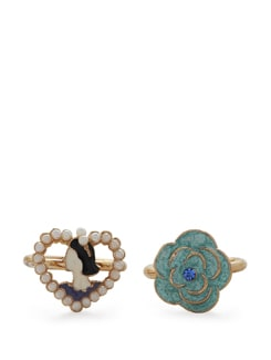 Turquoise Floral & Pearl Heart Rings - Set Of 2 - Addons