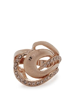 Gold Laser Print Diamond Studded Ring - Addons