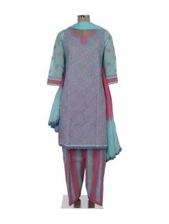 Elegant Blue & Pink Chikankari Suit - Ada