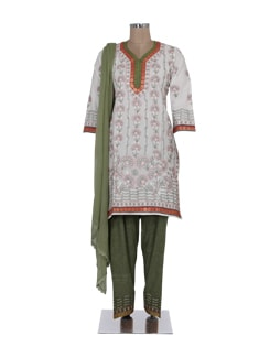 White & Green Chikankari Suit - Ada