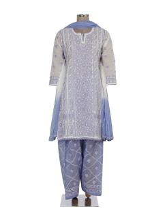 White & Purple Elegant Chikankari Suit - Ada