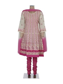 Off-white & Pink Striped Chikankari Suit - Ada