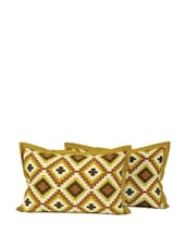 Yellow Patterned Pillow Cover - SWAYAM