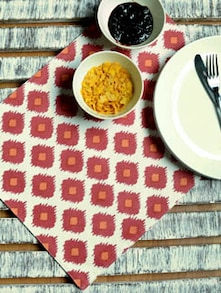 Set Of 6 Red Ikat Print Placemats - Ambbi Collections