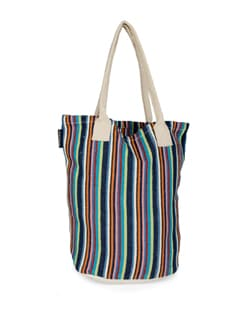 Multicoloured Striped Cotton Bag - Ambbi Collections