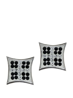 Curved Square Sterling Silver Earrings - Sparkling Deals