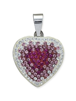 Pink & Silver Crystal Heart Pendant - Sparkling Deals