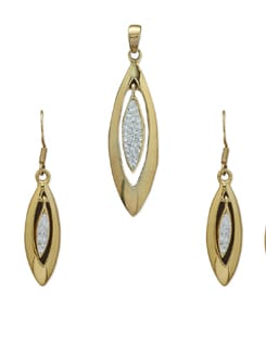 Two Tone Elongated Teardrop Pendant Set - Sparkling Deals