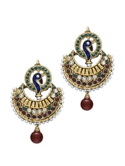 Elegant Gold Peacock Earrings - Sparkling Deals