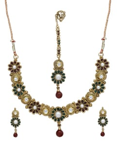 Multicoloured Floral Necklace Set - Sparkling Deals