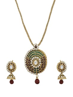 Gold Oval Pendant Necklace & Earrings - Sparkling Deals