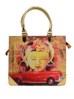 Buddha And Car Print Portfolio Bag - The House Of Tara