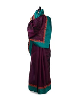 Dark Purple Embroidered Silk Saree - Design Oasis By Manish Saksena