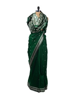 Designer Dark Green Silk Saree - Design Oasis By Manish Saksena