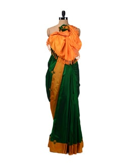 Green-Orchre Uppada Silk Saree - Design Oasis By Manish Saksena