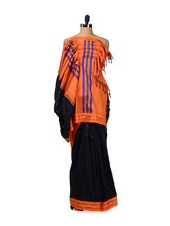 Orange & Black Kanjeevaram Silk Saree - Design Oasis By Manish Saksena