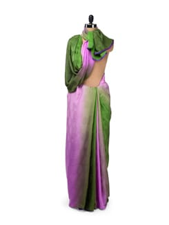 Green & Pink Shaded Jacquard Crepe Saree - Design Oasis By Manish Saksena