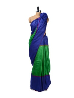 Green & Blue Tussar Silk Saree - Design Oasis By Manish Saksena