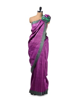 Traditional Purple Tussar Silk Saree - Design Oasis By Manish Saksena