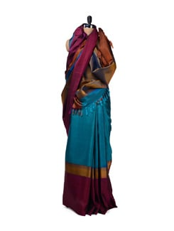 Designer Blue Kanjeevaram Silk Saree - Design Oasis by Manish Saksena