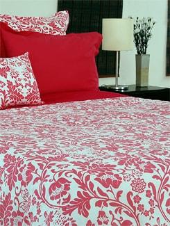 Red And White Printed Bedsheet Set - Seshraj