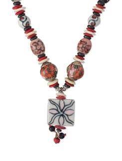 Designer Red Ceramic Beads Necklace - ALESSIA