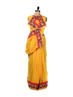 Yellow Printed Border Saree - URBAN PARI