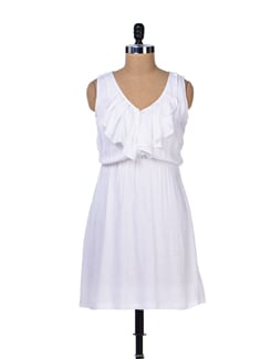 White Ruffle Dress - Femella