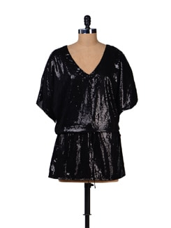 Shimmering Black Dress - Tops And Tunics