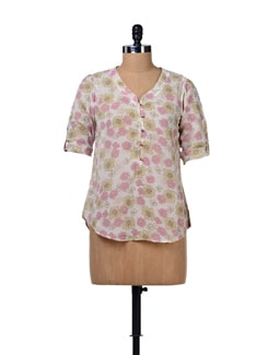 Floral Print Sheer Shirt - Tops And Tunics