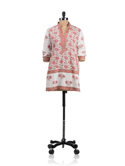 Block Print Kurti With Mandarin Collar - KILOL