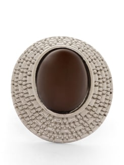 Brown & Silver Oval Ring - THE PARI