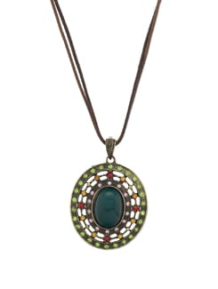 Trendy Green Stone Pendant Necklace - THE PARI