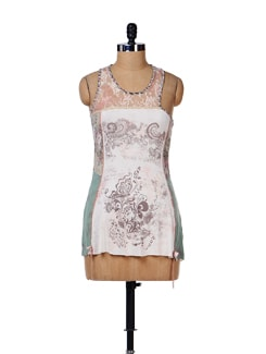 Printed Lace Tank Top - House Of Tantrums