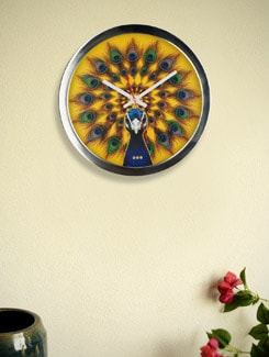 Peacock Print Wall Clock - Mad(e) In India
