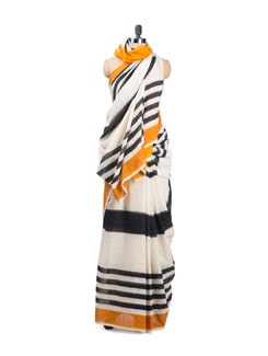 Melange Of Black And White Ikat Cotton Saree - Uppada
