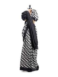 Contemporary Black And White Ikat Cotton Saree - Uppada