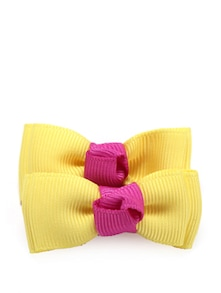 Yellow & Pink Bow Clips (Set Of 2) - NEEDYBEE