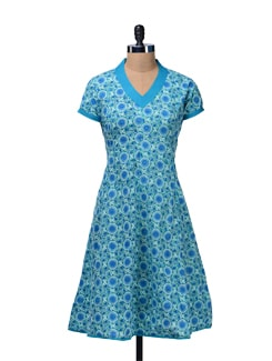 Turquoise Blue Printed Kurta - Cotton Curio