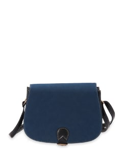 Blue And Black Faux Leather Cross Body Bag - Aapno Rajasthan