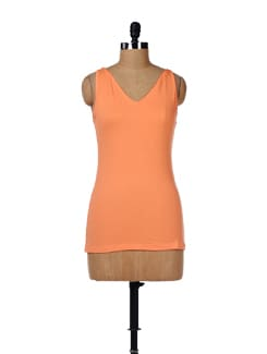 Orange V-neck Tank Top - GRITSTONES