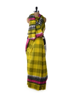 Lemon Checks And Dots Saree - ROOP KASHISH