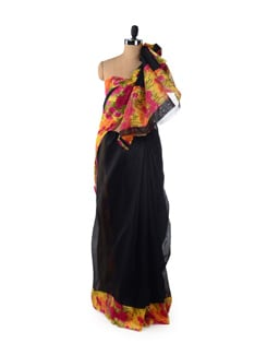 Black And Floral Saree - ROOP KASHISH