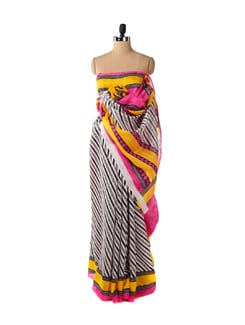 Diagonal Striped Pink Saree - ROOP KASHISH