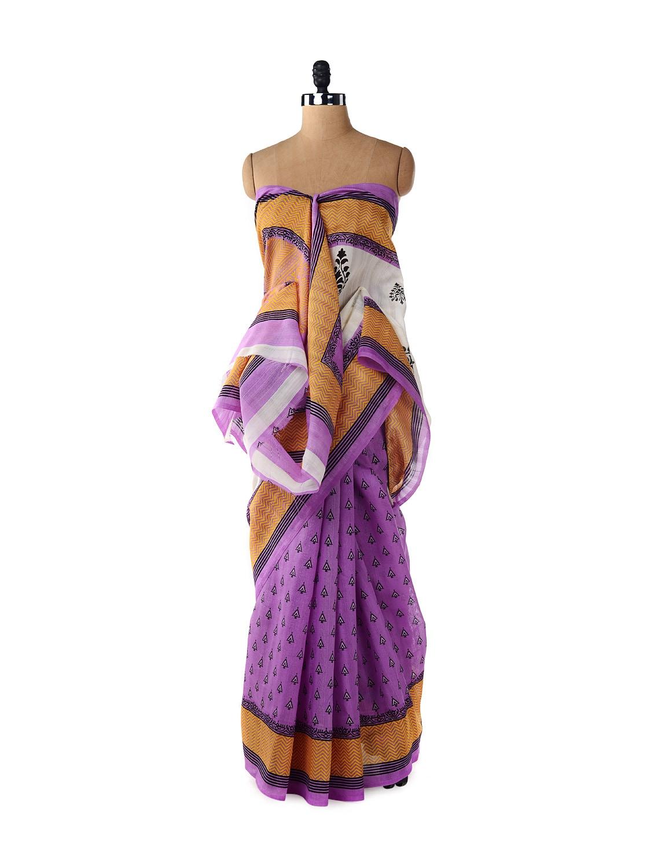 Purple & Chrome Orange Saree - ROOP KASHISH